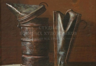 Коротков Н.Н. Дымарь. 2005 г. 30х30. Картон, темпера.