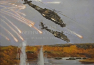 Мокрушин В.А. Запад 2009. В воздухе вертолеты. 120х150 см. х.т. 2009 г