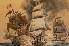 Щербаков В.Н. Бриг Меркурий в бою с турецкими кораблями. 1829г. б.акв. 61х41. 1995 г.