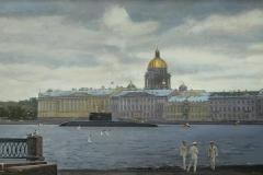 Ананьев А.М. На набережной. Санкт-Петербург. 2015 г. х.м. 120х180