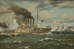 Авакимян О.А. Бой крейсера «Варяг». 2010 г. Холст, масло. 100х150