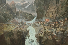 Авакимян О.А. Чертов мост, 1799 год  - Переход Суворова через Альпы 2013 г. х.м.120х170 см