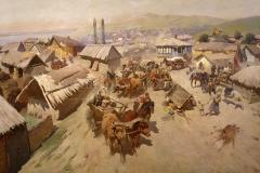 Греков М.Б Отступление ставропольских крестьян на Царицын 1928-29 гг., х.м.