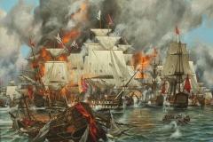 Корнеев Е.А. Победа российского флота в Наваринском морском сражении (1827 год). 2014 г., х.м