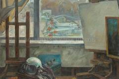 Евстигнеев А.В. В мастерской военного художника. 1980г. х.м.120х160см