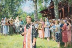 Соломин Н.Н. Отец Александр Освящает часовню 2002 г. х.м. 73х89,5