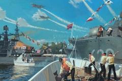 Ездаков О.В. День ВМФ в Балтийске. Современный Балтийский флот. 2011 г. х.м. 150х200