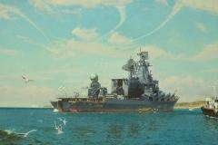 Ездаков О.В. Флагманский корабль ГВРК Москва на рейде Севастополя. 2008г.х.м. 150х200 см