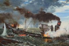 Ездаков О.В. СКР Пассат ведет бой с тремя немецкими миноносцами. 150х200