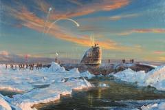 Ездаков О.В. Высадка советских подводников на Северном полюсе. 2010 г. х.м. 110х150