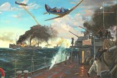 Ездаков О.В.Воздушный бой над союзным конвоем. 2017г.х.м. 150х200 см