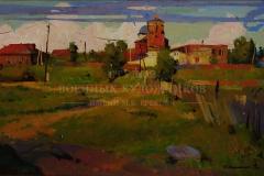 Крившинко И.П. Развалины, освещённые заходящим солнцем. 2006 г. 40х60, картон масло