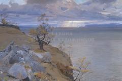 Белюкин Д.А. Байкал. Солнечный луч между островами Агой и Замогой. 2009 г., х.м.