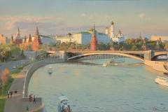 Белюкин Д.А. Вид на Московский Кремль и Большой Каменный мост. 2017 г., х.м.