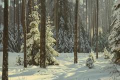 Штрикман Л.Л. Зимний лес, х.м. 2017 г.