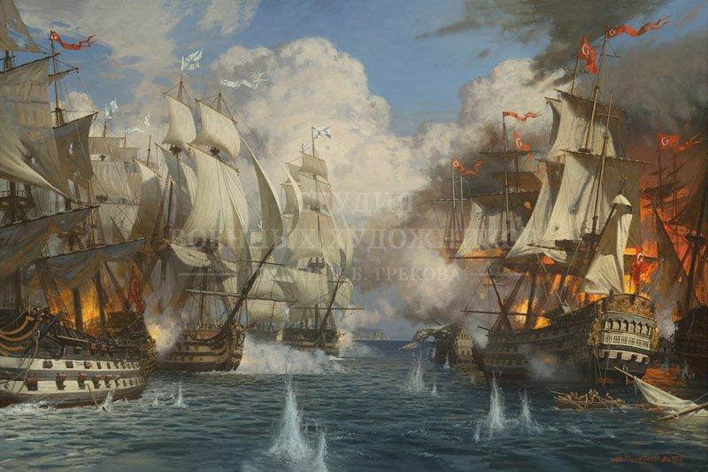 Полетаев М.А. Сражение русской эскадры под командованием контр-адмирала Ф.Ф. Ушакова с турецкой эскадрой у м. Калиакрия. 1791 год
