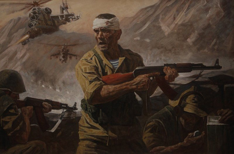 Дроздов А.Ю. Афганистан. Прорыв в панджшере. 100х150 см. х.м. 2014