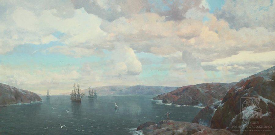 Лебедев И.М. Корабли эскадры Бредаля на рейде Екатерининской гавани