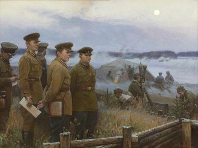 Минеева П.В. Генерал-лейтенант артиллерии Сивков А.К. на наблюдательном пункте. 1943 год