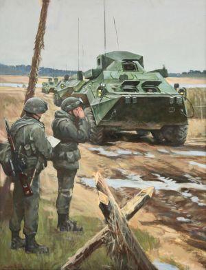 Смирнов Е.А. На марше. Колонна связи во главе КШМ Р-149МА1