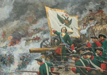 Сибирский А.В. Полтавская баталия. 1709 год. Петр I ведет в атаку батальон Преображенского полка