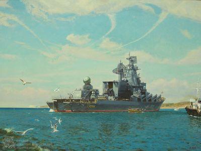 Ездаков О.В. Флагманский корабль ГВРК Москва на рейде Севастополя