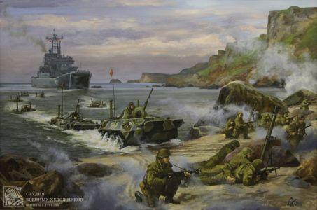 Корнеев Е.А. Современные морские пехотинцы. 2010 г. х.м. 100х150