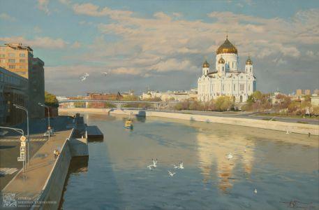 Белюкин Д.А. Вид на храм Христа Спасителя и Патриарший мост