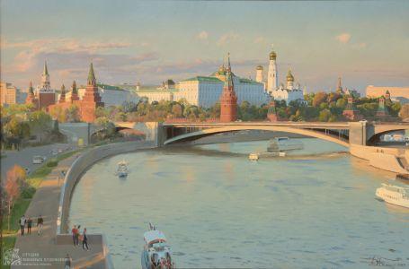 Белюкин Д.А. Вид на Московский Кремль и Большой Каменный мост