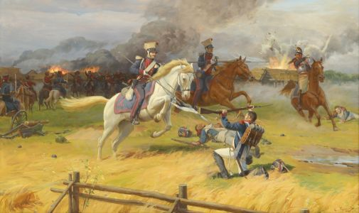 Трошин С.Н. Атака улан у деревни Беззубово. 1812 год